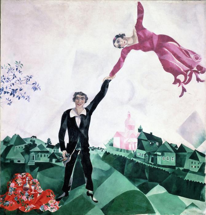 Marc Chagall, La passeggiata, 1917-18, San Pietroburgo, Museo Statale Russo © Chagall ®, by SIAE 2020