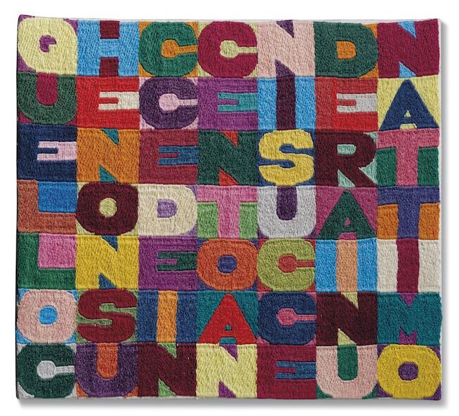 Alighiero Boetti (1940-1994), Quello che non succede in cento anni succederà in un attimo, ricamo, cm 28x31,5. Eseguito nel 1988.