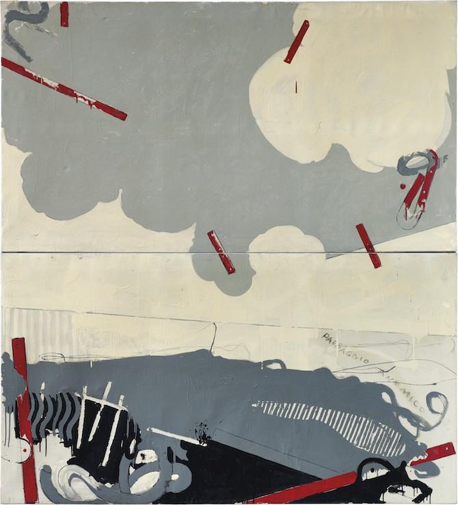 Mario Schifano (1934-1998). Paesaggio anemico I, matita e smalto su tela, dittico, cm 220×200. Eseguito nel 1964.