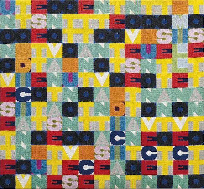 Alighiero Boetti (1940-1994) Senza titolo (Uno nove sette otto), ricamo cm 91×98; data, iscrizione e firma 1978 AFGHANISTAN. KABUL BY AFGHAN PEOPLE alighiero e boetti (sul retro). Stimato €350.000-500.000, Venduto: € 620.000