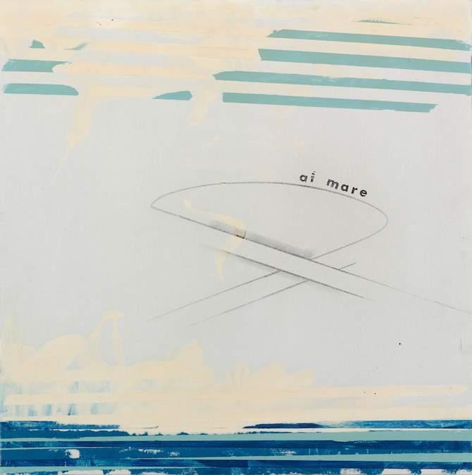 Lotto 61, MARIO SCHIFANO, Al Mare, 1965, smalto e grafite su tela, firmato sul retro. Base d'asta €40,000–60,000
