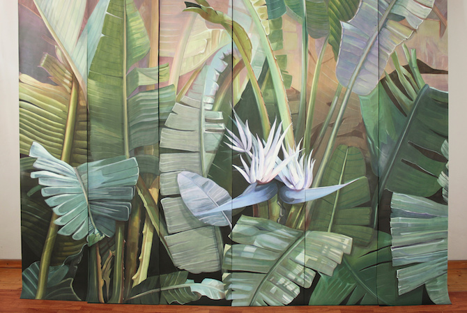 Elena Palossi Pink Tropical Forest Wallpaper