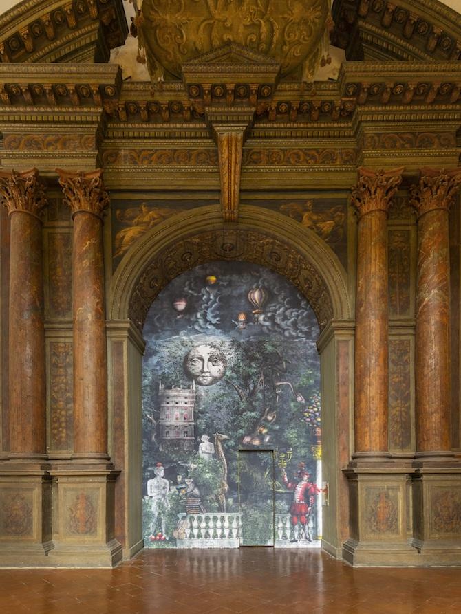 Fornasetti Theatrum Mundi. Allestimento nell'ingresso del Teatro Farnese, Complesso Monumentale della Pilotta. Photo credit: Cosimo Filippini