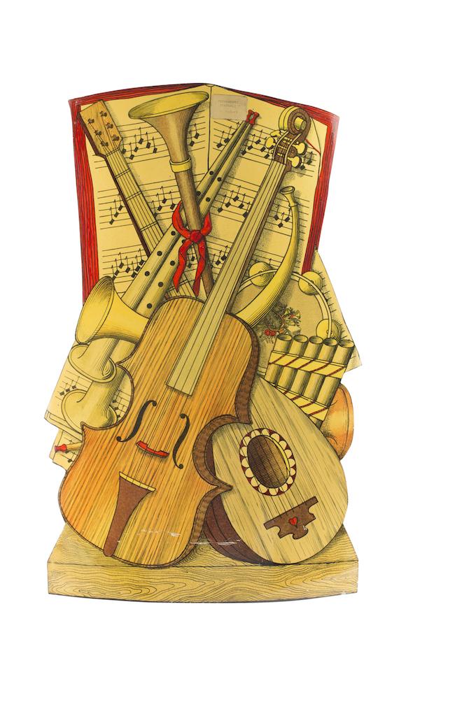 """Portaombrelli """"Strumenti Musicali"""", anni Cinquanta. Litografia dipinta a mano su metallo."""