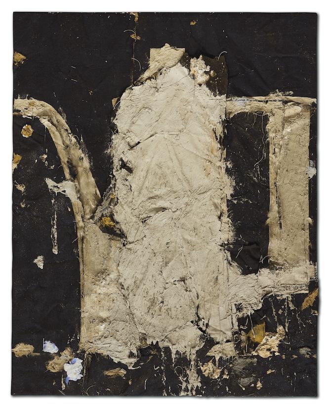 Manolo Valdés Cafetera Blanca Sobre Fonde Negro, 1994, olio e collage su tela di juta