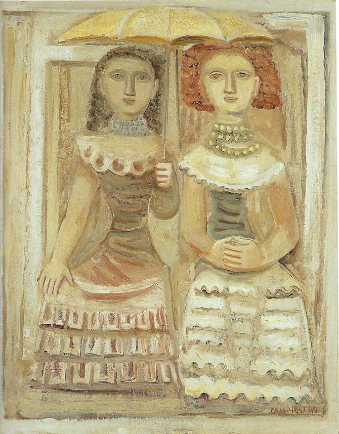 Massimo Campigli, Donne con l'ombrellino, 1940, olio su tela, 100 x 81 cm. – Collezione privata