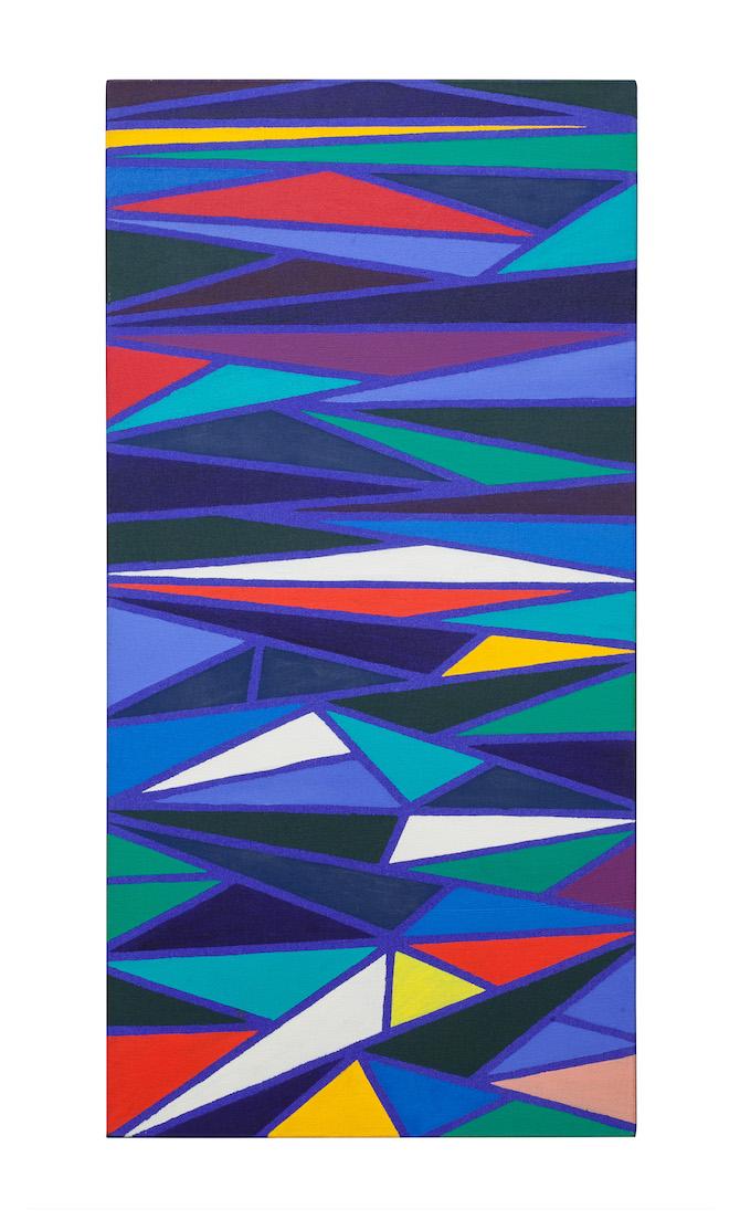 "Piero Dorazio 1927 – 2005 Scaletta, 1973   Signed, dated and titled (on the reverse): ""Piero Dorazio / 1973 / Scaletta""   Oil on canvas, 100 x 50 x 4 cm, 39 3/8 x 19 3/4 x 1 5/8 in (DOR050)."