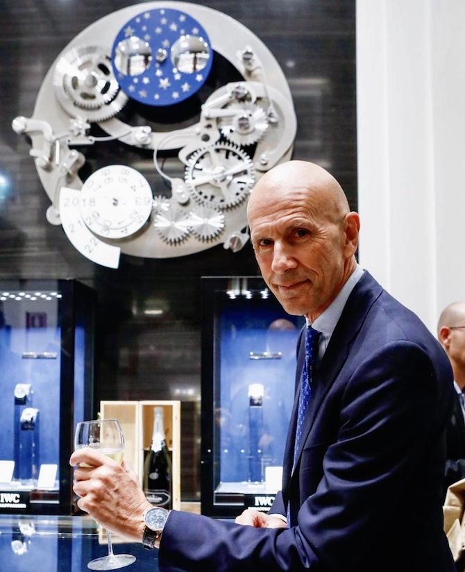 Beppe Ambrosini nella boutique milanese di IWC Schaffhausen in via Montenapoleone 1