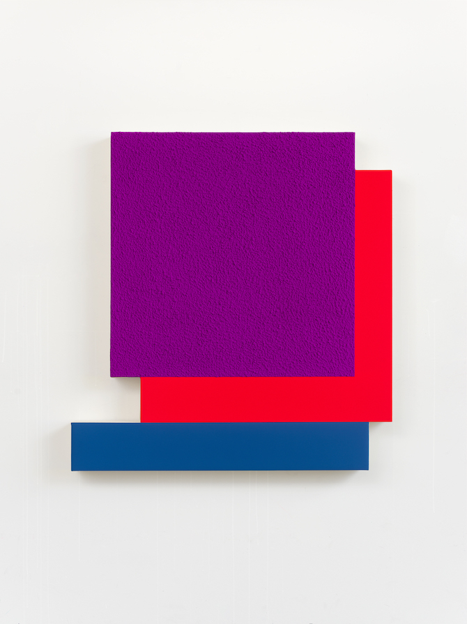 Peter Halley, Purple Cell , 2021, Acrylic, fluorescent acrylic and Roll - A - Tex on canvas - 113 × 107 × 11 cm; Courtesy the artist and Galleria Massimo Minini, Brescia