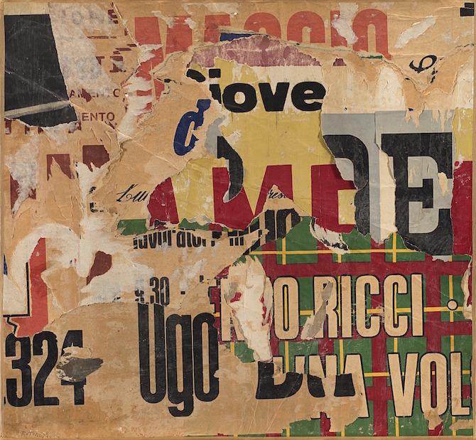 Mimmo Rotella, 324 Ugo, 1960, Décollage on canvas - 53 × 57 cm; Courtesy Matteo Lampertico, Milan