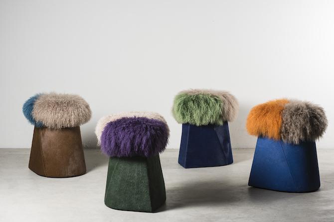 Wikatoria stool by Martino Gamper, UK, 2018, Nilufar Edition, Plastic, pony and Mongolian shearling wool Colour - 43 x 45 x h 55 cm each - 16.9 x 17.7 x h 21.6 in each; Courtesy Nilufar, Milan