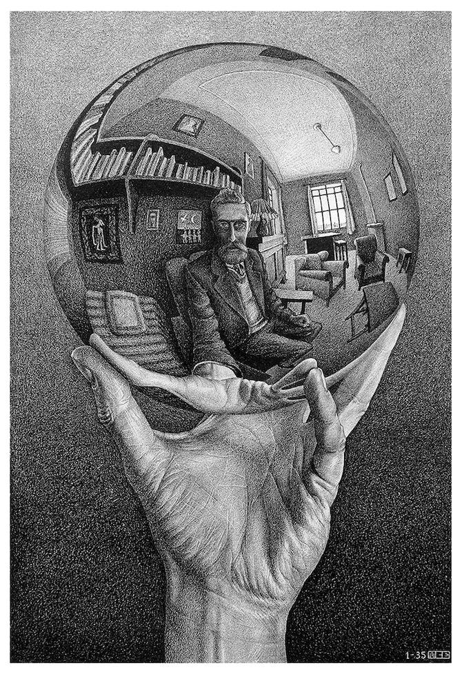 Maurits Cornelis Escher Mano con sfera riflettente, 1935 Litografia, 31,1x21,3 cm Olanda, Collezione Escher Foundation All M.C. Escher works © 2021 The M.C. Escher Company The Netherlands. All rights reserved
