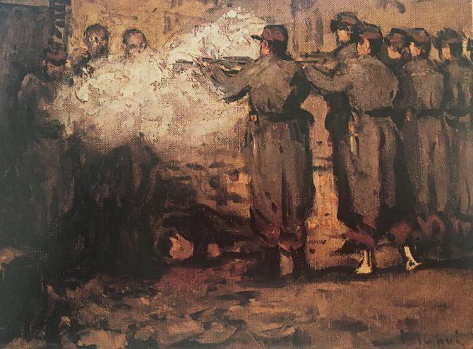 Edouard Manet, La barricade, 1871, olio su tela, 24x34 cm, Collezione privata