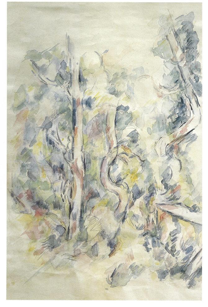Paul Cézanne, Le citerne dans le parc du Château noir, 1900-04, acquerello e matita su carta, 45x29,8, collezione privata